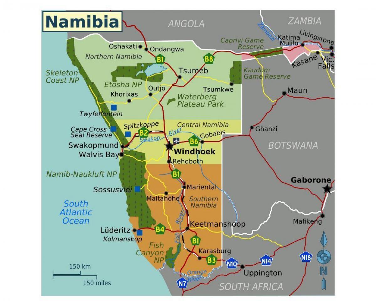 Karte Anzeigen.Nord Namibia Landkarte Karte Von Nord Namibia Sudliches